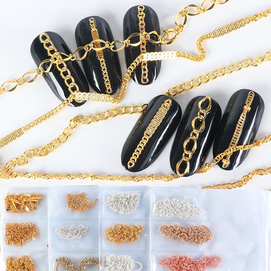3D металлическое золотое украшение для ногтей, цепочка из сплава, украшение из страз стразы для ногтей, кристаллы, украшения для маникюра, ин...