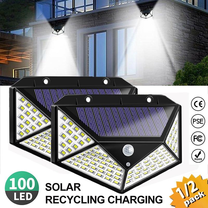 New 100 Led 4 Sides Solar Lamp With PIR Motion Sensor 3 Mode Led Security Light With 270 Degree Solar Light For Outdoor Garden