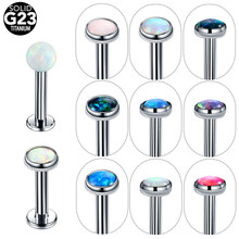 1pc Titanium Internal Threaded Labret Piercing 16G 14G Cartilage Helix Piercing Lip Stud Labret Opal Tragus Piercing Jewelry(China)