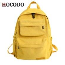 HOCODO מוצק צבע תרמיל לנשים 2019 ניילון רב כיס נסיעות תרמילי קיבולת גדולה תיק בית ספר בגיל ההתבגרות