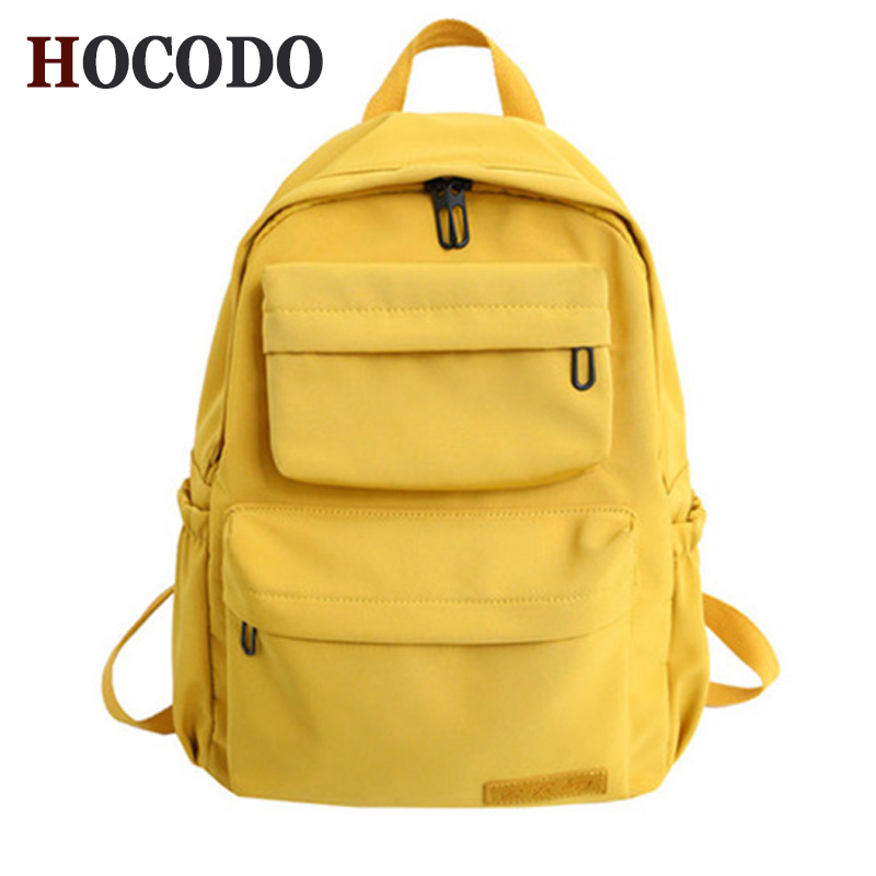 HOCODO Solid Color Backpack For Women 2019 Waterproof Nylon Multi Pocket Travel Backpacks Large Capacity School Bag For Teenage