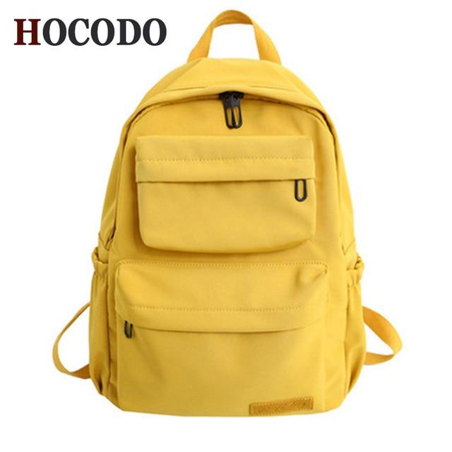 HOCODO Solid Color Backpack For Women 2019 Waterproof Nylon Multi Pocket Travel Backpacks Large Capacity School Bag For Teenage