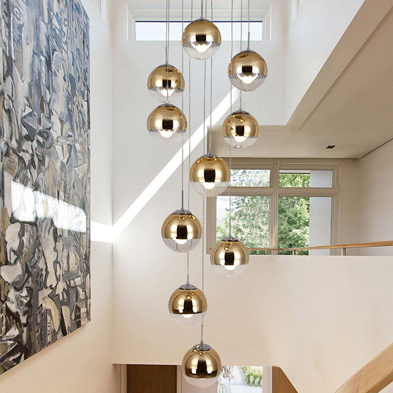 Stair Rotating Long Pendant Light Nordic Personality Glass Living/Dining Room Modern Minimalist Fixture Lamp