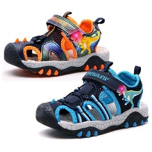 2020 Летняя Пляжная детская обувь, светодиодный светильник, сандалии для мальчиков, 3D динозавр, обувь для маленьких мальчиков, нескользящая д...