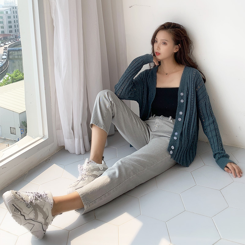 126 # Giant Slimming Of Western Style Gray Straight-leg Pants WOMEN'S Ninth Pants High-waisted Loose-Fit Jeans Women's Korean St