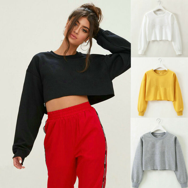 Women Lady Autumn Casual Long Sleeve Short Sweatshirt Jumper Crop Solid Tops Pullover Coat