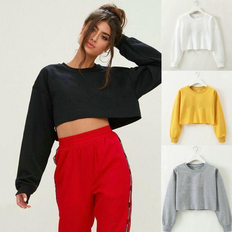 Women Lady Autumn Casual Long Sleeve Short Sweatshirt Jumper Crop Solid Tops Pullover Coat