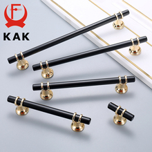 KAK Zinc Alloy Black Gold Door Handles Pulls Furniture Handle Fashion Kitchen Cabinet Handles Solid Drawer Knobs Door Hardware