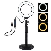 Lampa pierścieniowa LED na biurko do makijażu pierścień światła na statyw fotograficzny z lampą do Vlog Youtube Video Broadcast Liveshow