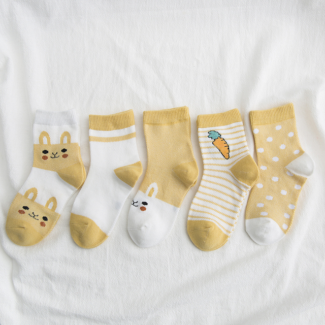 5Pairs/lot 0-9Y Kids Socks Summer Cotton Cartoon Animal Kids Socks Carrot Girls Mesh Cute Newborn Boy Toddler Children Socks 3