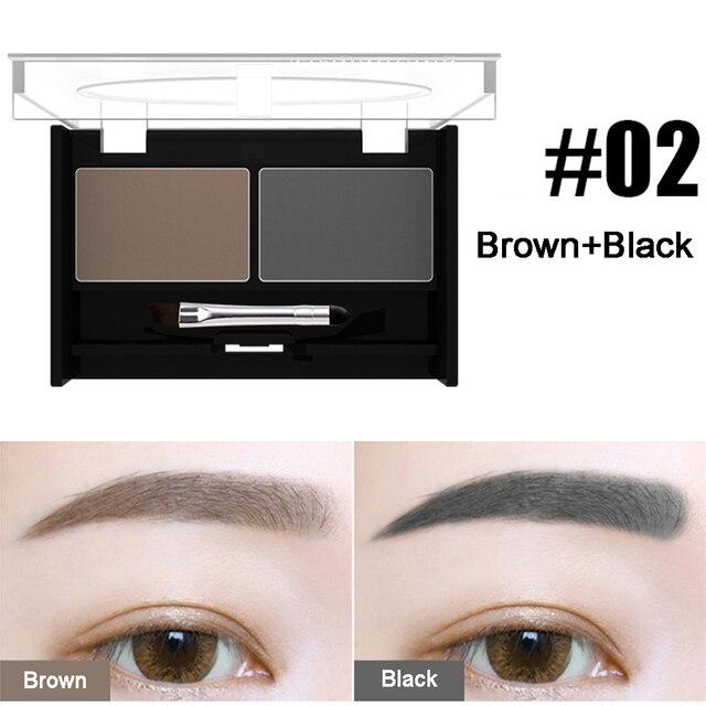 Girls Women Eyeshadow Cake Makeup Tools 2 Color Waterproof Eyebrow Powder Eye Shadow Eye Brow Palette + Brush Eyebrow Enhancer 2
