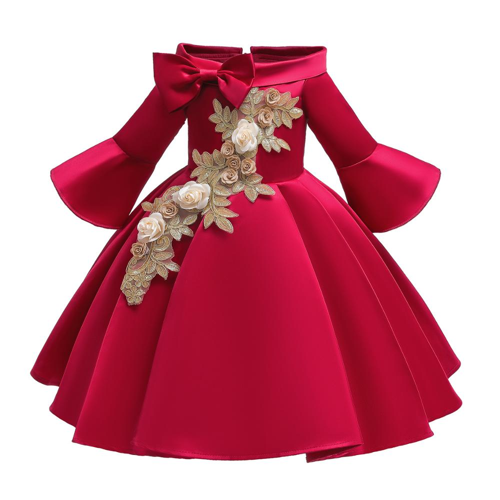 Girls Dresses Long Section Birthday Wedding Girl Floral Princess Party Dresses Summer Kids Baby Girl Dresses Children's Clothing