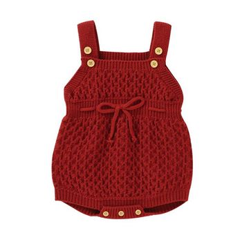Baby Knit Bow Romper Newborn Knitted Baby Clothes Autumn Winter Sleeveless Baby Girl Romper Cotton Baby Jumpsuit Boy Romper christmas baby clothes autumn winter knitted baby deer romper newborn romper infant jumpsuit toddler girl romper