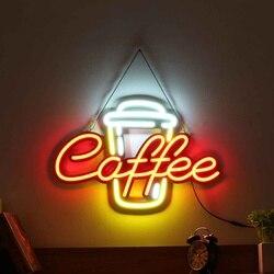 Светодиодный светлая неоновая вывеска трубка кофе бар клуб КТВ настенные украшения коммерческое неоновое освещение лампы кафетерий визуа...