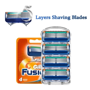 4Pcs/Lot 5+1 Layer Blade Shaving Blades Safety Male Shaving Face Care Replaceable Blades For Gillettee Fusion 5