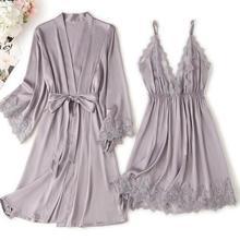Dantel Trim seksi düğün bayan elbise takım elbise gevşek saten gelin nedime Kimono bornoz cüppe Mini pijama Rayon samimi iç çamaşırı