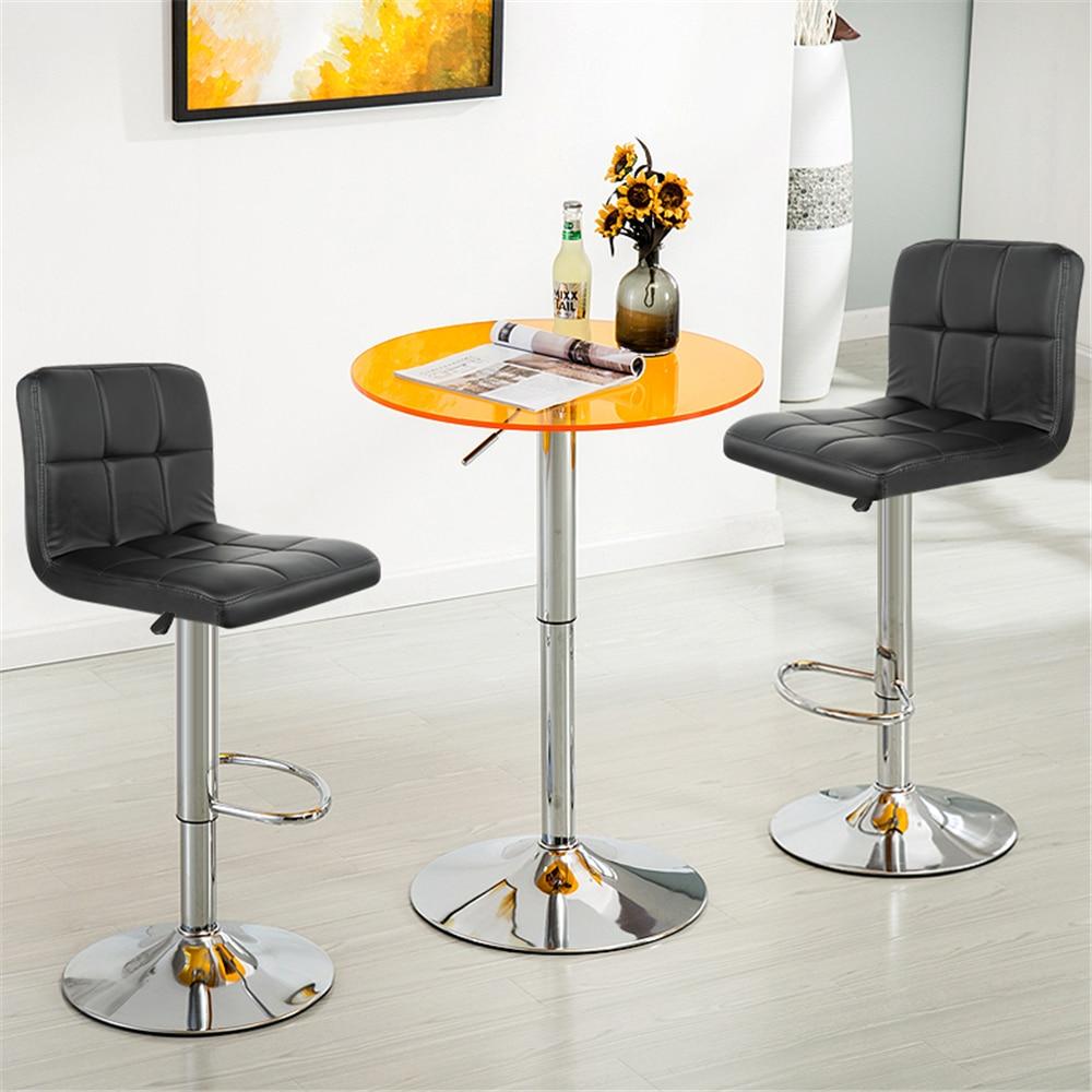 Современный барный стул из искусственной кожи, регулируемый высокий стул для дома, кухни, офиса, кофейного зала, 2 шт, вращающиеся стулья