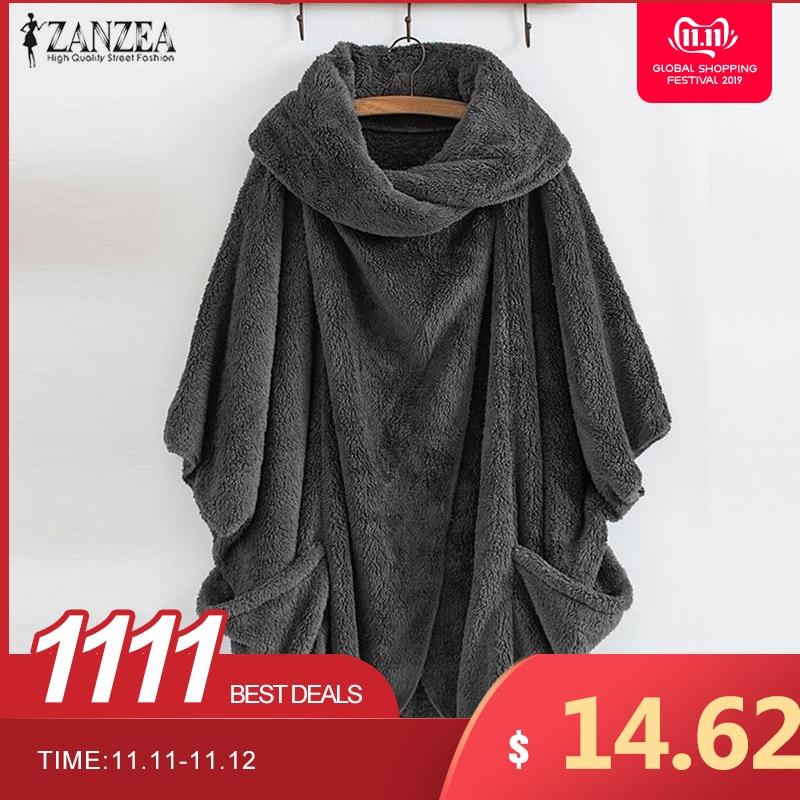 ZANZEA Women Fluffy Coat Oversized Long Sleeve Jackets Female Button Outwear Winter Warm Poncho Solid Autumn Innrech Market.com