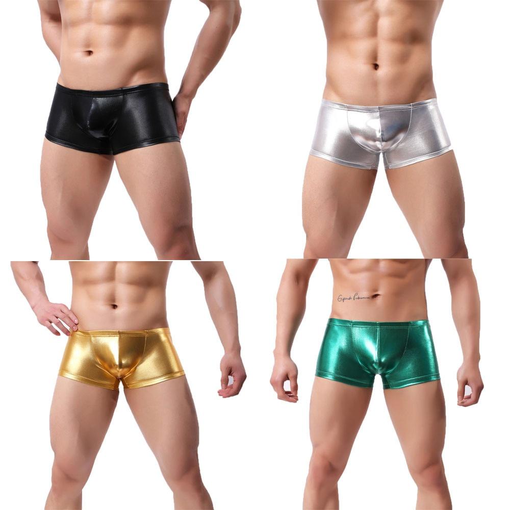 Men Underwear Boxer-Shorts Home-Furnishing Color Shiny Pants Interior Ropa Calzoncillos