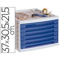 Файловый ящик Рабочий стол Q-CONNECT 37X30,5X21,5 см верхний Органайзер лоток 6 ящиков синий прозрачный