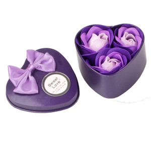 3Pcs Flower Soap Rose Soap Heart Scented Bath Body Petal Rose Flower Soap Case Wedding Decoration Gift Festival Box(China)