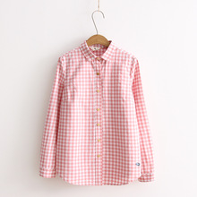 Simple Plaid Women Shirts Spring and Autumn Long Sleeve Turn Down Collar Real Pictures Womens Tops Blouses