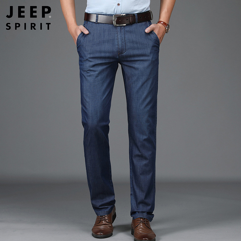 JEEP SPIRIT Mens Jeans Brand Summer Autumn Thin Tencel Denim Pant Men Business Casual Straight Mid-waist Jeans Men