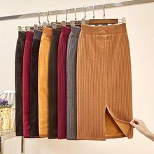 цены на 2019 Winter Women Skirt Fashion New Bag Hip Plus Velvet Thick Warm Knit Skirt Slim Casual Office Female  в интернет-магазинах