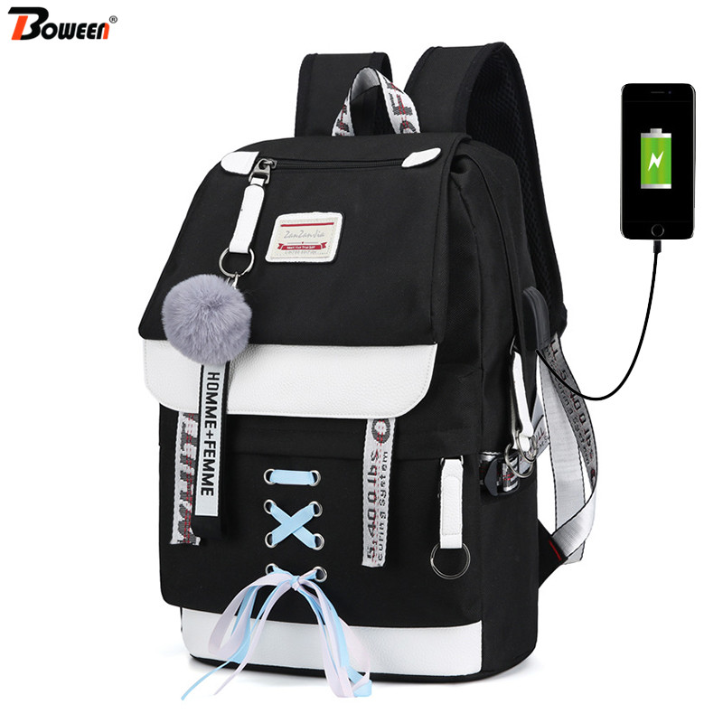 Canvas Usb School Bags for <font><b>Girls</b></font> Teenagers Backpack Women Bookbags Black 2019 Large Capacity Middle High College <font><b>Teen</b></font> Schoolbag image