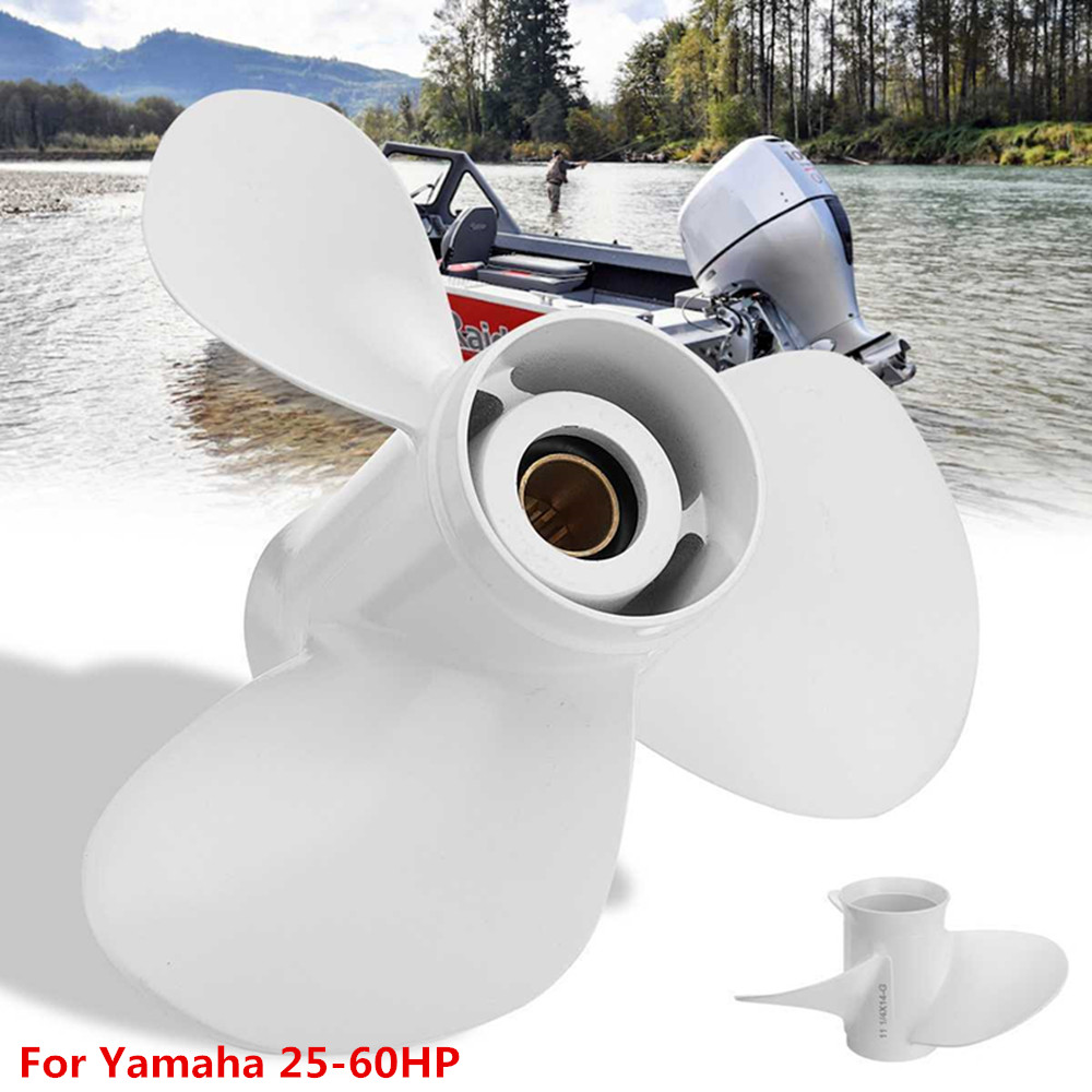Aluminum Boat Outboard Propeller 3 Blades 13 Spline Tooth R Rotation White 663-45958-01-EL For Yamaha Outboard Engines 25-60HP