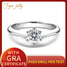 JoyceJelly Natural Moissanites Ring 0.5 Carat Stone 925 Sterling Silver Wedding Jewelry Fine Gifts for Girlfriend Wife Wholesale