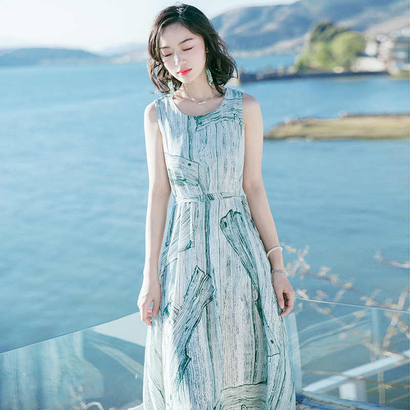 Dài Mùa Hè Nữ Đi Biển Đầm Dự Tiệc Voan In Họa Tiết Áo Đầm Ôm Quần Áo Vestidos De Fiesta 2020 LWL1651