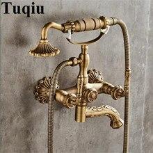 цена на Bathroom Bathtub Faucets Wall Mounted Antique Brass Carved Dual Handle Bathtub Faucet With Handheld Shower Bath Shower Faucets