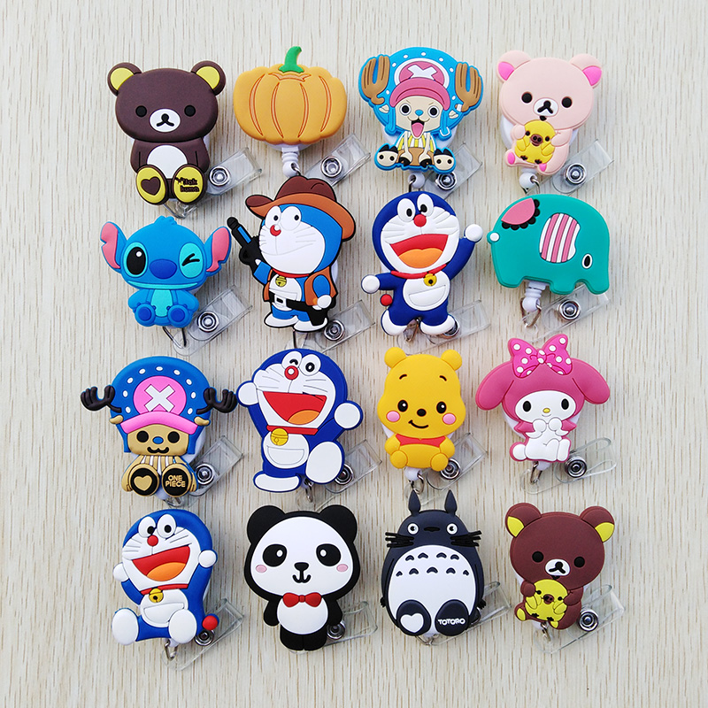 1pcs/lot Cute Silica Gel Telescopic Cartoon Badge Reel Bus Card Student Nurse ID Name Card Badge Holder 2020 New Office Supplies