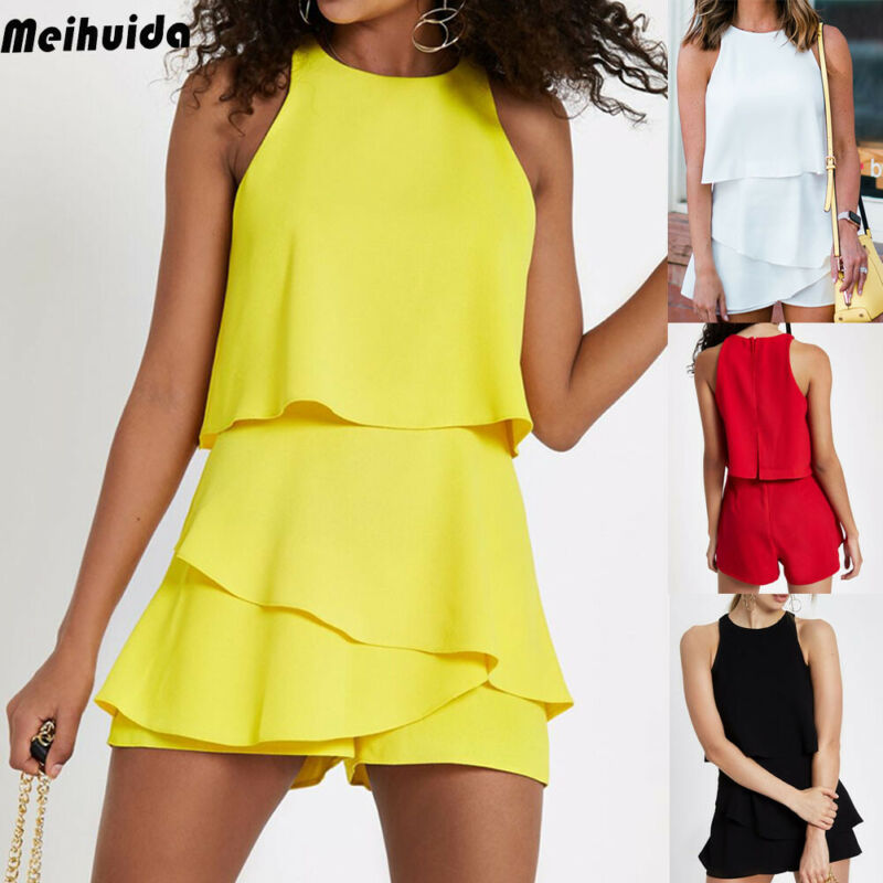 Fashion Women's Casual Holiday Summer Mini Tank Playsuit Romper Beach Shorts Jumpsuit