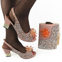 Bag Peach-Shoes Matching-Set Party-Pumps Nigerian Wedding-Party And with for Evening