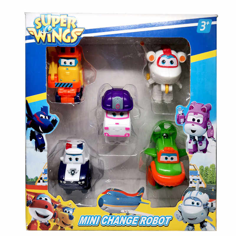 5pcs/set Super Wings Model Mini Planes Toy Transformation Airplane Robot Action Figures Toy