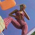 Женские полосатые брюки с широкими штанинами, повседневные уличные брюки в стиле ретро с высокой талией и принтом, Y2K, лето 2021