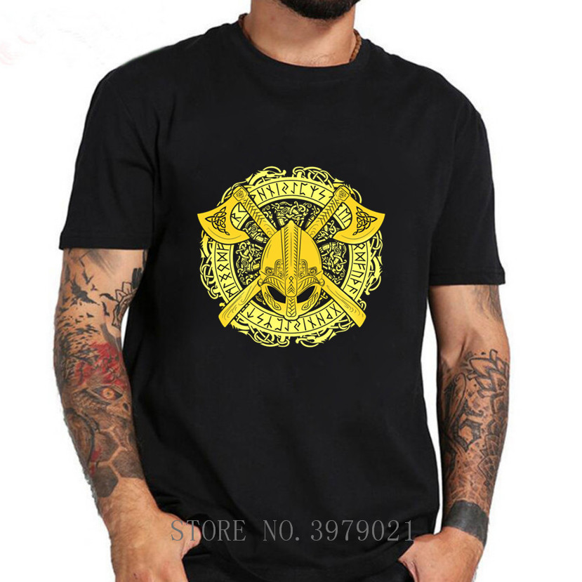 Casual T Shirts NORSE VIKINGS FEAR NOT DEATH RAVEN WARRIOR STICKER Valhalla Man 100% Cotton Short Sleeve Tshirs T-Shirt Summer