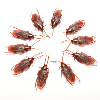 10 Pcs Funny Trick Joke Toys Novelty Special Lifelike Model Simulation Fake Rubber Cockroach Cock Roach Bug Roaches ToyPrank image