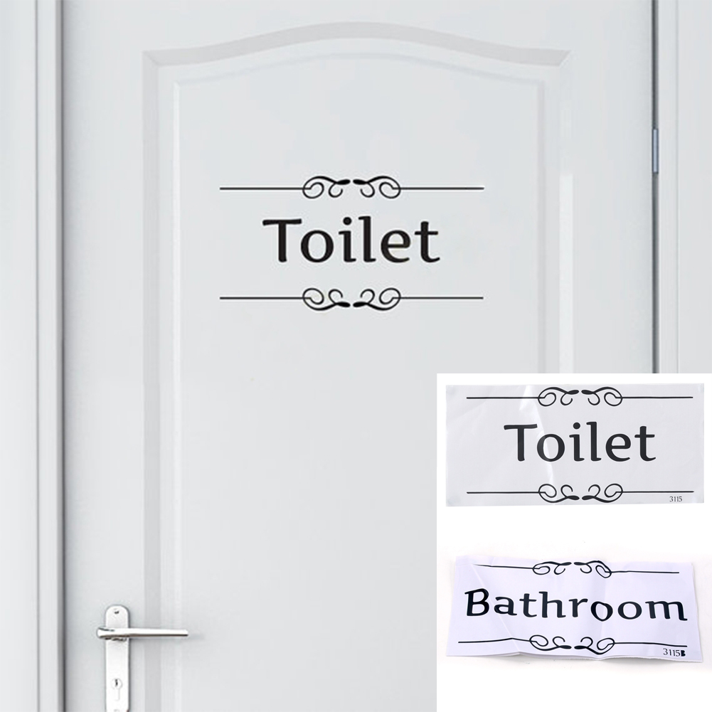 Hot Sale DIY Removable Self-adhesive English Label Wall Sticker Toilet/bathroom Door Decal And Decoration