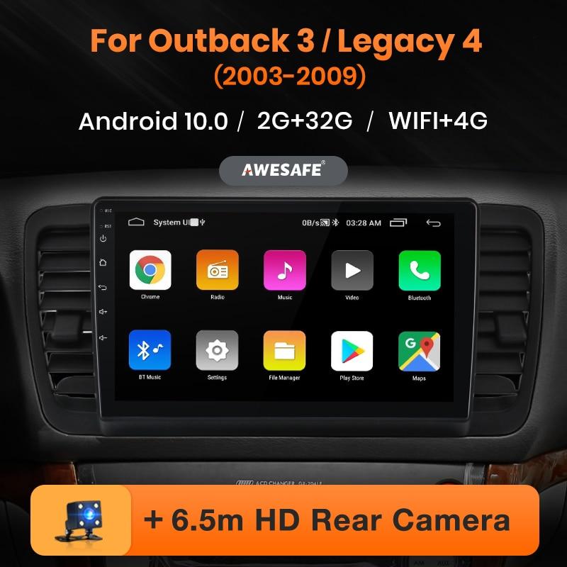 Автомагнитола AWESAFE PX9 для Subaru Outback 3 Legacy 4 2003-2009, мультимедийный видеоплеер, навигация GPS, 2 din, DVD, Android 10