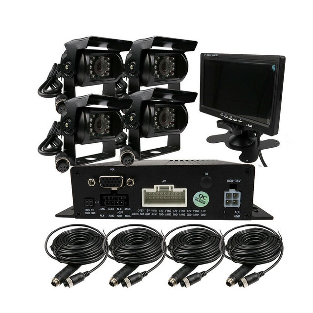 """لتقوم بها بنفسك 720P AHD 4CH 256GB سيارة شاحنة المحمول AHD DVR مسجل فيديو نظام كاميرا CCTV الرؤية الخلفية 7 """"رصد شحن مجاني"""