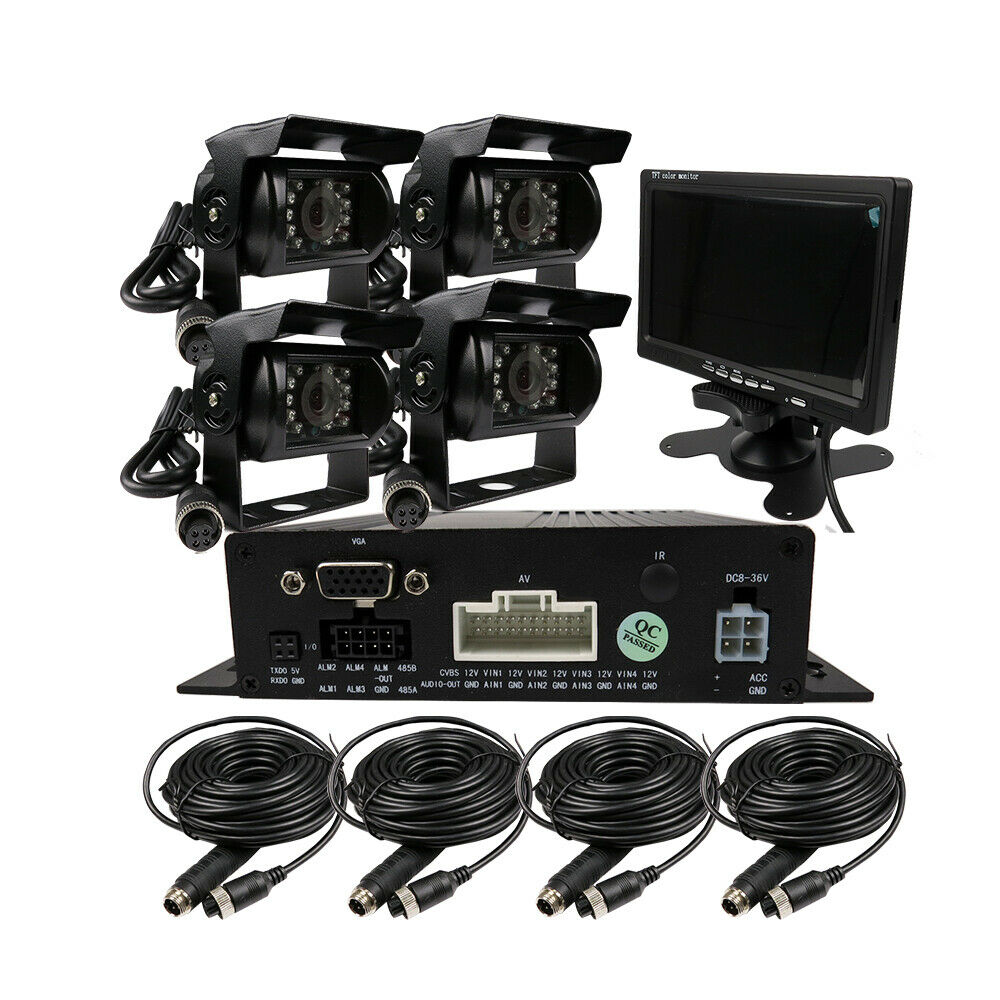 "DIY 720P AHD 4CH 256GB Car Truck Mobile AHD DVR Video Recorder Rear View CCTV Camera System 7"" Monitor Free Shipping-in Surveillance System from Security & Protection"