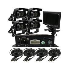 """DIY 720P AHD 4CH 256GB araba kamyon mobil AHD DVR Video kaydedici dikiz güvenlik kamerası sistemi 7"""" monitör ücretsiz kargo"""