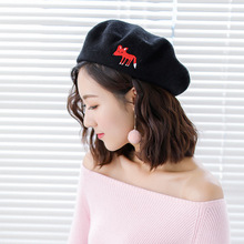Winter Wool Warm Berets Women Embroidery Cartoon Fox Painter Hat Girls Baret French
