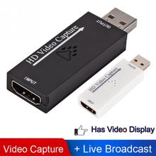 Hdmi para usb 2.0 placa de captura de vídeo 1080p hd gravador jogo/vídeo streaming ao vivo captura de vídeo hdmi cartão cam ligação hdmi captura