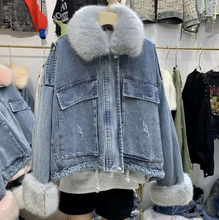 2019 winter new detachable plush liner big fur collar denim pie to overcome women short paragraph thick warm cotton coat tide