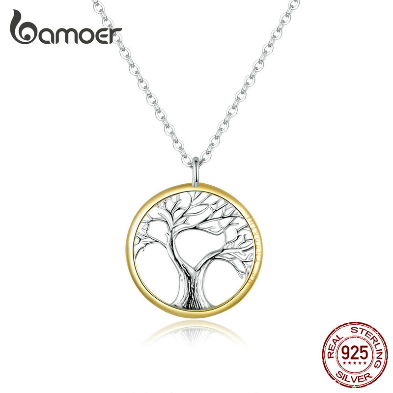 Bamoer Tree Of Life Pendant Necklace For Women Sterling Silver 925 Family Chain Necklaces Luxury Bijoux Collar Gifts SCN367