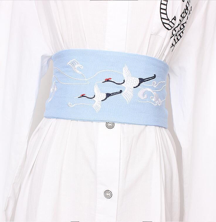Women's Runway Fashion Bird Embroidery Cotton Cummerbunds Female Dress Corsets Waistband Belts Decoration Wide Belt R1919